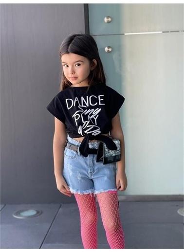 Hilal Akıncı Kids Kiz Çocuk Dance Baskili Tışört Kot Şort Bel Çantasi 2 Adet Fıle Çorap Beşlı Takim Siyah